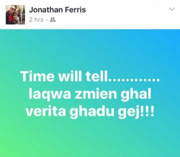 Jonathan Ferris referred to his sacking through a Facebook post.