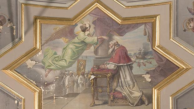 The main vault painting before conservation treatment, showing Pope St Pius V beseeching the intercession of the Virgin Mary at the time of the Battle of Lepanto.