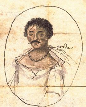 Portrait of the Greco-Bulgarian Caro Mitro, leader of the mutiny, hanged on April 26, 1807. (Courtesy of a private collector)