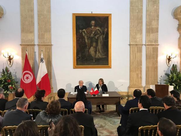Tunisian President Beji Caid Essebsi and President Marie Louise Coleiro Preca. Photo: Mark Zammit Cordina