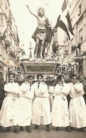 The statue of the Risen Christ being carried in procession on Easter Sunday, April 6, 1969. The statue bearers, from left, are Mario Schiavone, Anthony Debarro, Anton Schiavone, Charles Chircop and Victor Schiavone.
