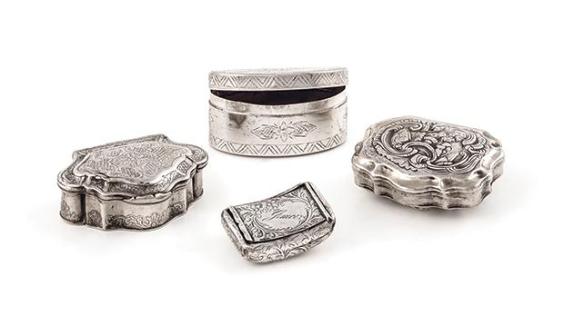 Silver snuff boxes with Maltese connections dating from the 18th to the early 20th centuries.