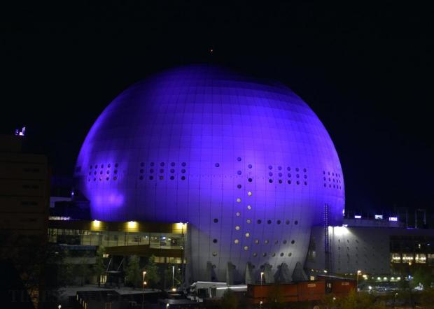 The Ericsson Globe in Stockholm, Sweden, venue of this year's Eurovision song contest, is seen at night on May 9. Photo: Mark Zammit Cordina.