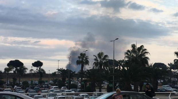This was the second time in a few days that an ominous plume of smoke could be seen from the airport, the first was a plane crash - Picture Julian Bugeja Coster.