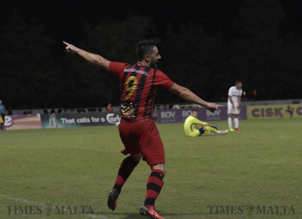 Hamrun Spartans' Jean Pierre Mifsud Triganza celebrates his second goal against Hibernians during their Premier League football match at Hibs Stadium in Corradino on 19 August. Photo: Mark Zammit Cordina