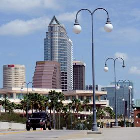 A view of downtown Tampa from the bridge to Harbour Island. Photo: Brian Blanco/Reuters