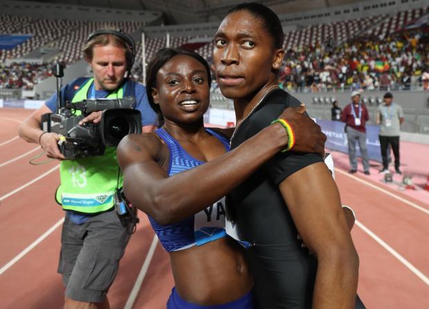 South Africa's Caster Semenya is congratulated after winning the women's 800m during the IAAF Diamond League.