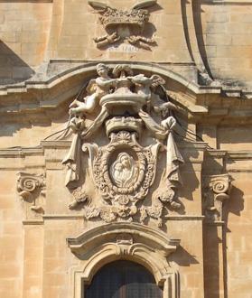 Relief sculpture on the church façade above the main door.
