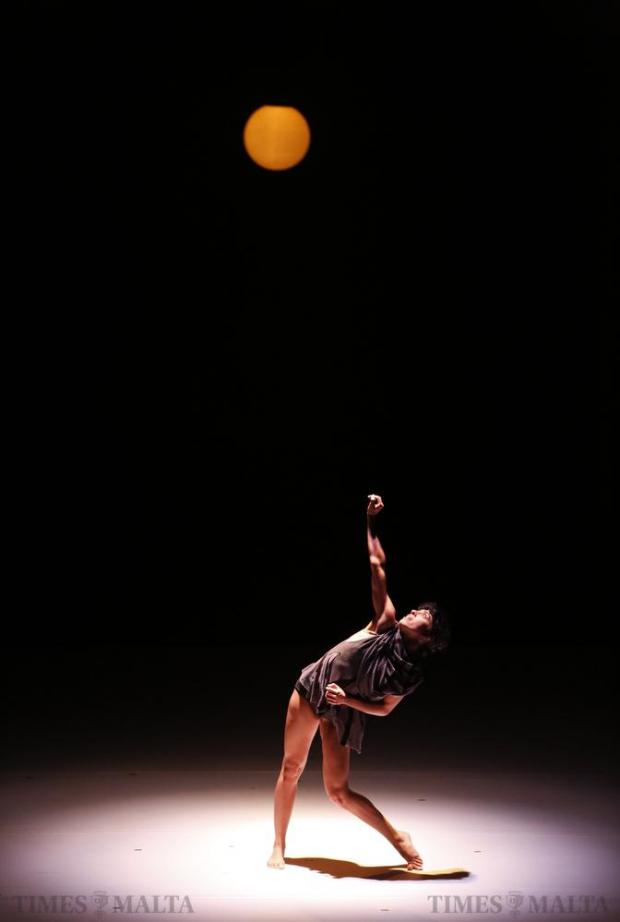 """A dancer of the Kibbutz Contemporary Dance Company of Israel performs in """"If At All"""", choreographed and designed by Rami Be'er, during the Malta International Arts Festival at Argotti Gardens in Floriana on July 11. Photo: Darrin Zammit Lupi"""
