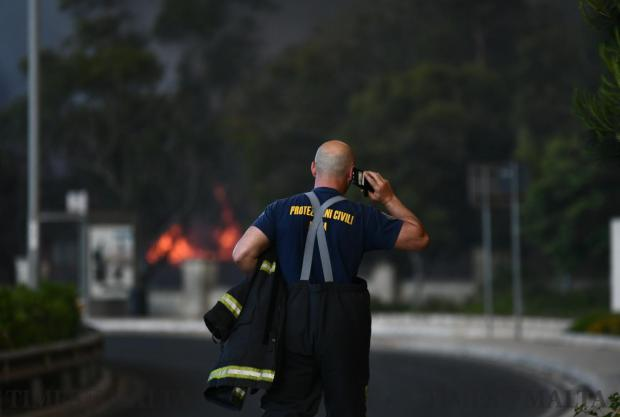 A firefighter at the scene of the Sant Antnin recycling plant in Marsascala on May 22. Photo : Jonathan Borg
