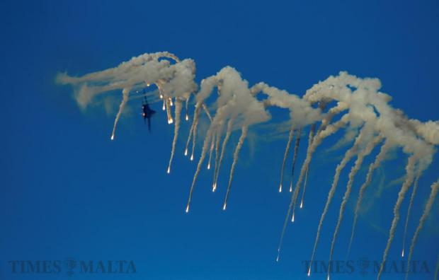 A Ukraine Air Force Su-27 Flanker fighter aircraft releases flares while taking part in the Malta International Airshow off SmartCity Malta, on September 24. Photo: Darrin Zammit Lupi