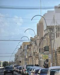 The new lighting poles in Vjal il-Ħelsien, Żebbuġ.