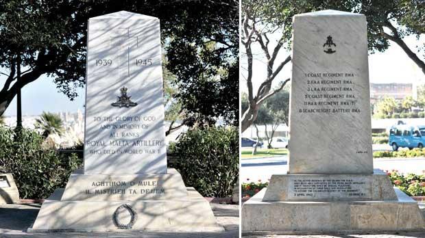 Front (left) and rear views of the memorial of the Royal Malta Artillery in Floriana. Photos: Jason Borg