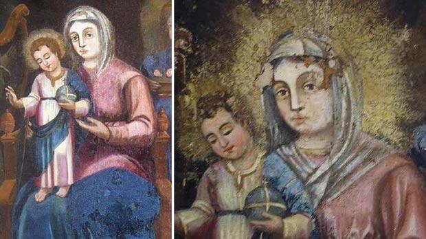 Madonna and Child (detail after restoration). Right: Madonna and Child (detail before restoration).