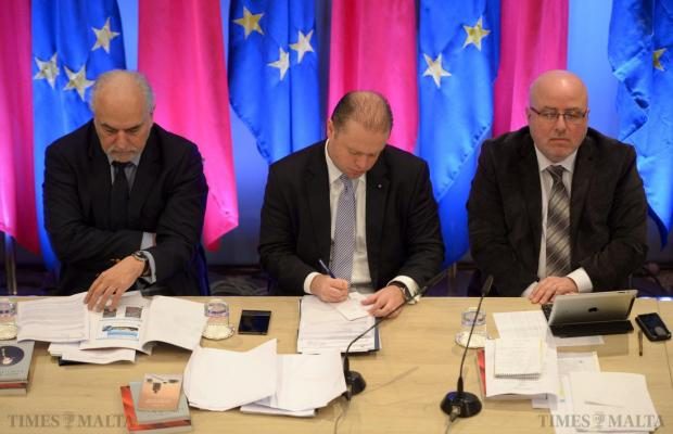 Prime Minister Joseph Muscat takes down some notes during a Cabinet meeting held in Zebbug on January 26. Photo: Matthew Mirabelli