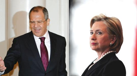 Sergei Lavrov and Hillary Clinton