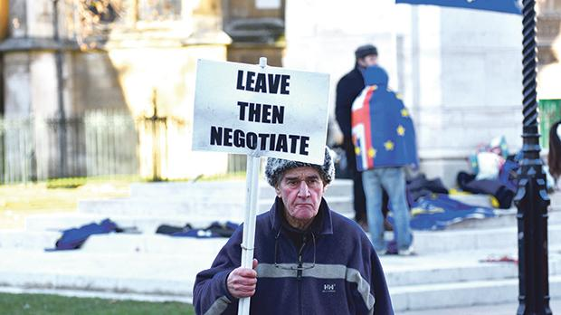 A pro-Brexit protestor - for the UK 'crashing out' of the European Union without a deal - holding a banner stating 'Leave Then Negotiate' in London. Photo: Amani A/Shutterstock.com