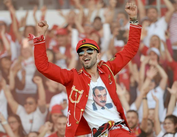 A Valletta Supporter celebrates after his team won the football Premier League title on April 21. Photo: Chris Sant Fournier