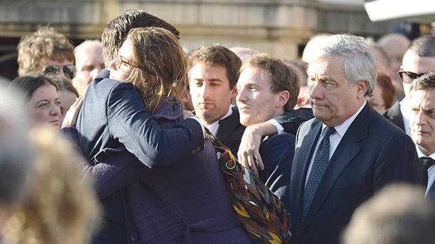 European Parliamentpresident Antonio Tajani stood with the mourners and the family outside the Rotunda in Mosta. Photo: Matthew Mirabelli