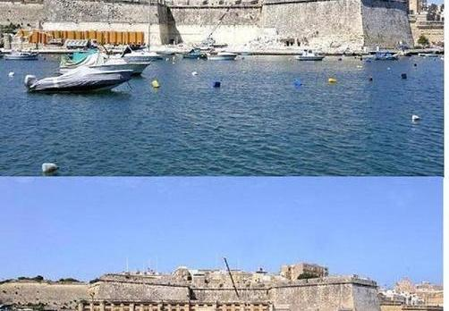 The new view of the Vittoriosa bastions (top) and the view before the oil depot was demolished.