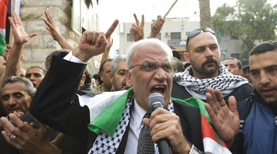 Saeb Erakat at a demonstration against the Al-Jazeera satellite channel in the West Bank city of Jericho on January 25. Photo: AFP
