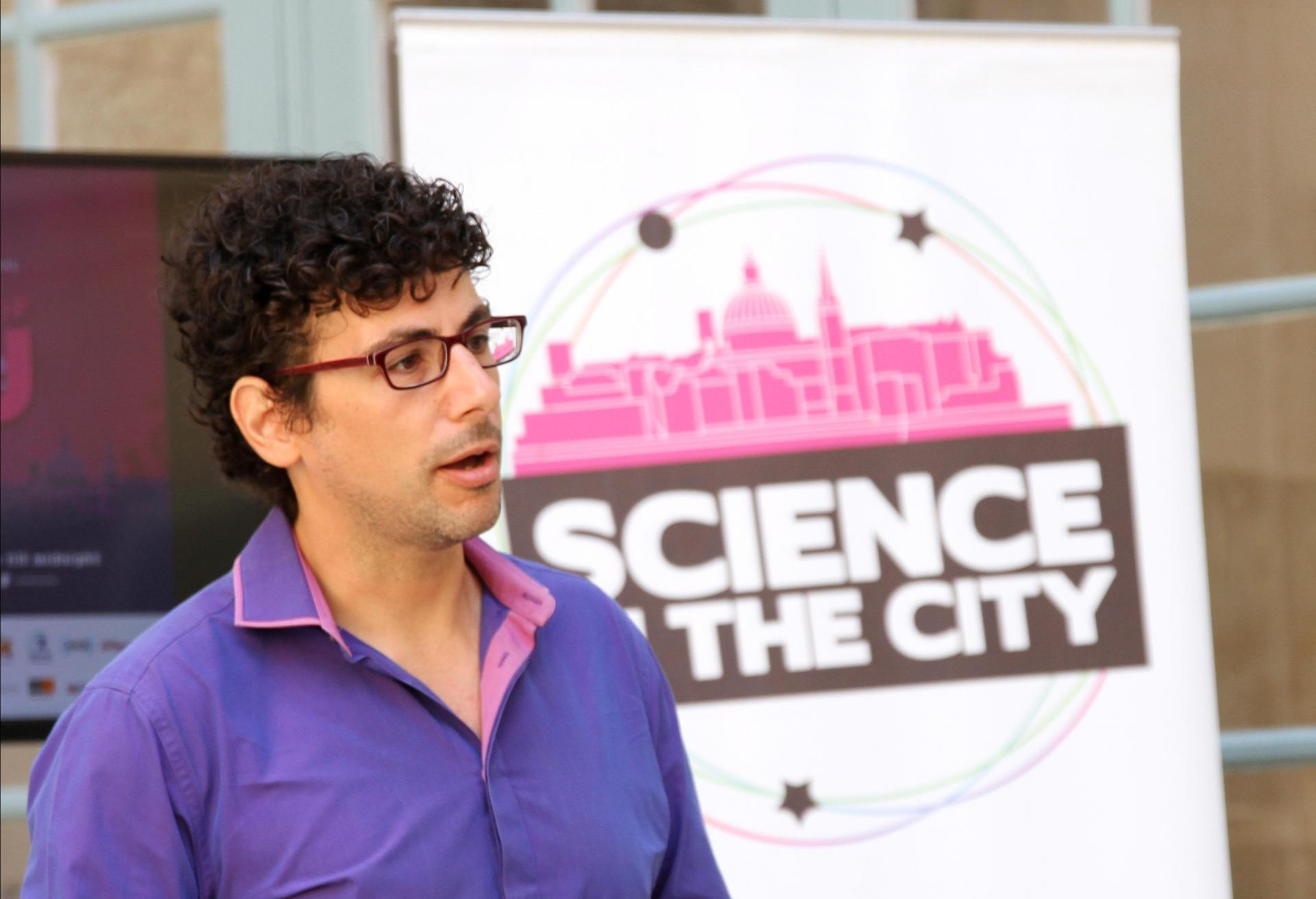 Science in the City founder Edward Duca speaking at a press conference launching this year's event.