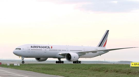 A Boeing 777 with the new Air France logo, designed by Brandimage agency in Roissy-en-France, northern Paris, France.