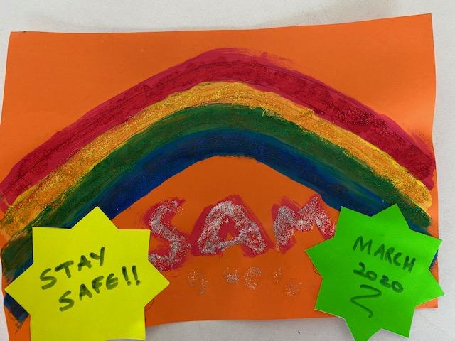 Sam (2) wanted to make sure his rainbow stands out...so he added plenty of glitter.