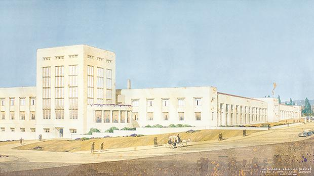 Painting of William B. Binneir's and Lewis V. Farrugia's design for Farsons new brewery. Photo: Simonds Farsons CIsk Plc)
