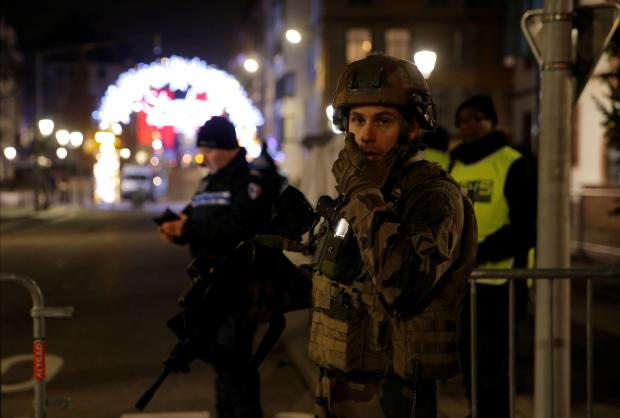 Police seal off streets in Strasbourg city centre. Photo: Reuters