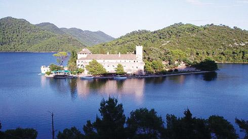 The Benedictine monastery on St Marija islet in Veliko Jezero, Mljet.