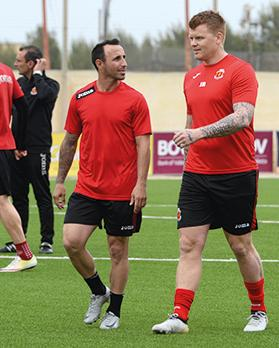 John Arne Riise (right) talks with Valletta striker Michale Mifsud. Photo: Matthew Mirabelli
