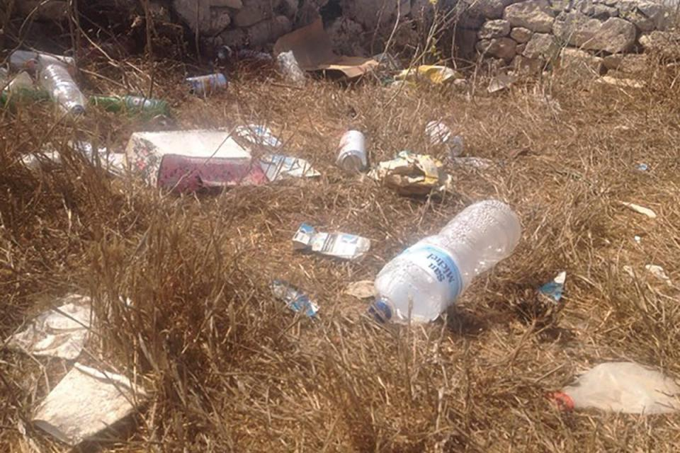 Some of the litter found at Ta' Ċenċ cliffs before a clean-up event.