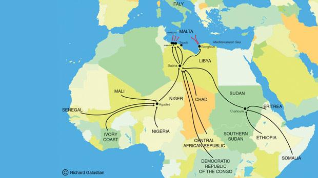 Main migrant routes via Libya to the EU.