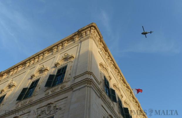 A military helicopter flies over Castille on October 17. Photo: Matthew Mirabelli