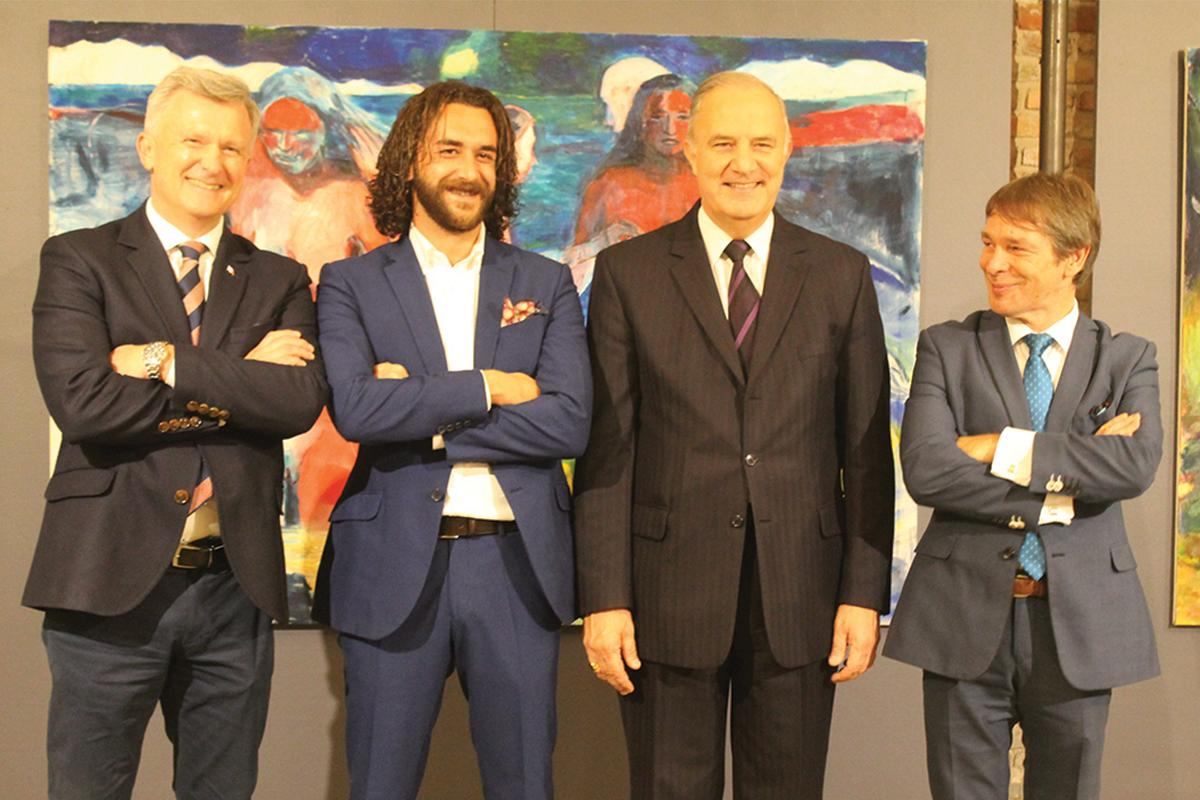 Buttigieg (second from left) at the exhibition's opening in Gdansk, Poland.