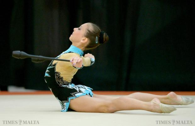 Monika Lazarova representing Malta performs her floor routine during the 1st Spring Cup International Competition held at Tarxien on May 10. Photo: Matthew Mirabelli