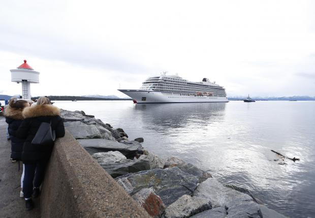 The Viking Sky nears port. Photo: AFP