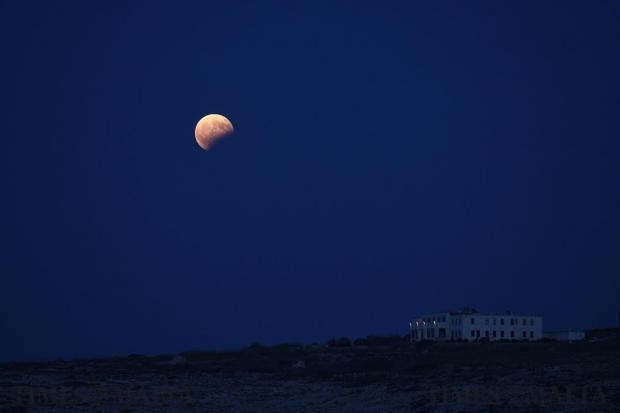 A partial eclipse of the moon as seen from Malta on August 5 Photo : Jonathan Borg