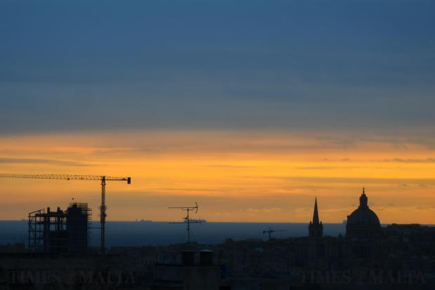 The sun rises over Valletta on February 22. Photo: Jonathan Borg
