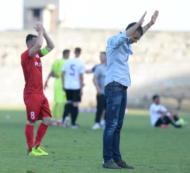Balzan Coach Marko Micovic acknowledges the crowd after their Premier League match at the Hibernian's Stadium in Paola on April 21. Photo: Matthew Mirabelli