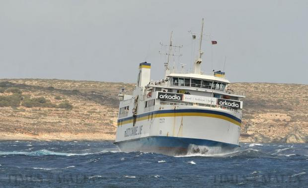 Gozo Channel ferry Malita fights the elements in the Malta-Comino Channel on April 25. Photo: Chris Sant Fournier