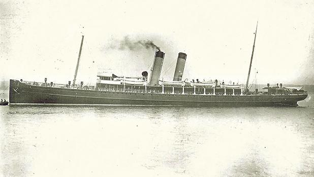 The British steamer Dresden before it was taken by the British Admiralty and renamed HMS Louvain in 1915. (WWW.SIMPLONPC.CO.UK)