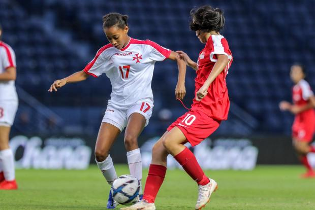 Georgiana Mifsud (left) in action during the Development Tournament, in Thailand. Photo: Malta FA