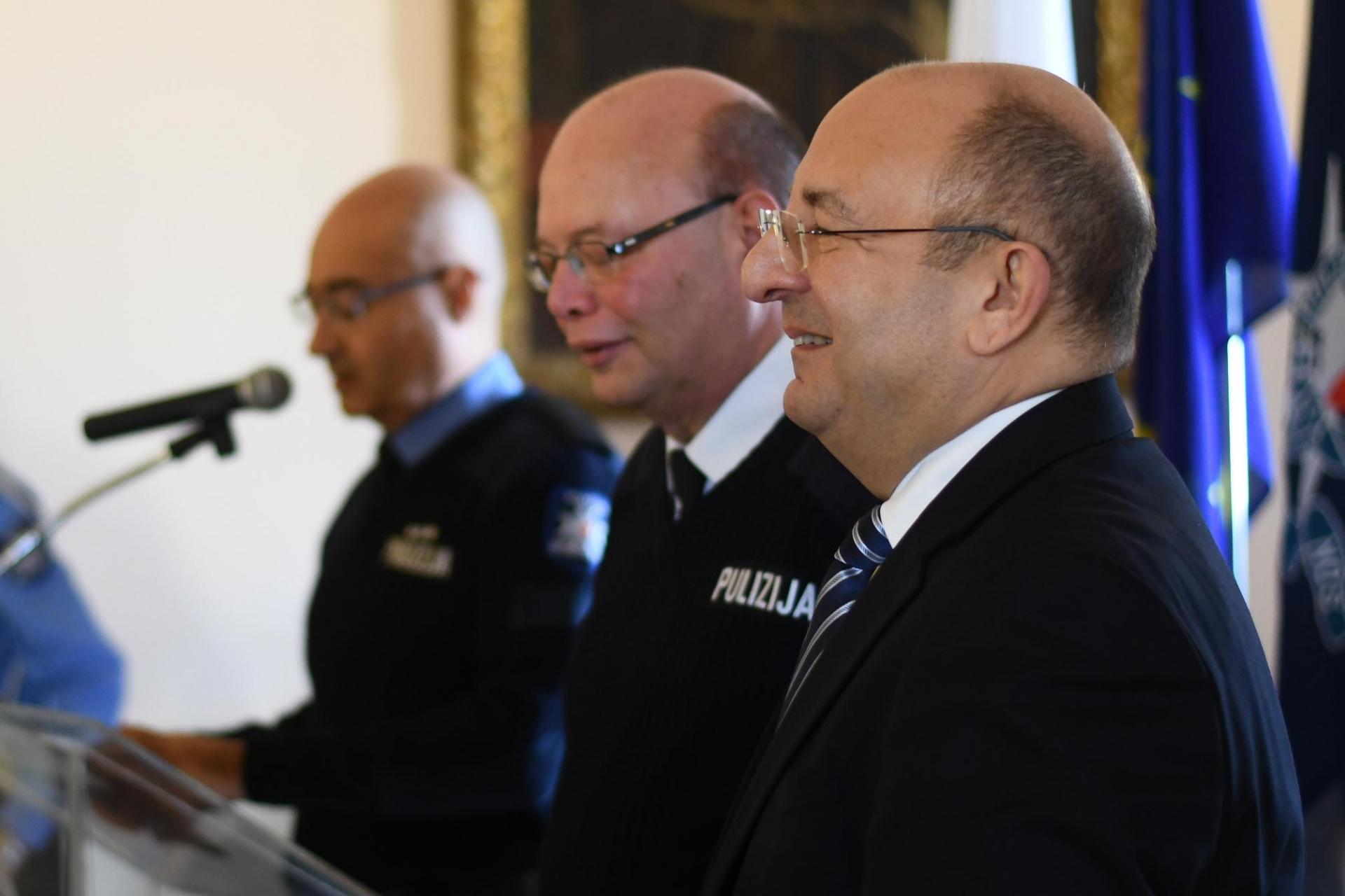 Michael Farrugia (right) with his police commissioner Lawrence Cutajar (centre) in December 2017. Photo: Mark Zammit Cordina