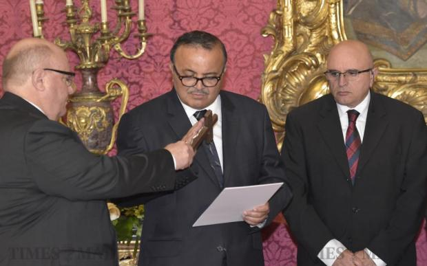 Former Labour deputy leader Toni Abela is sworn in as a judge at the President's Palace in Valletta on November 21. Photo: Mark Zammit Cordina