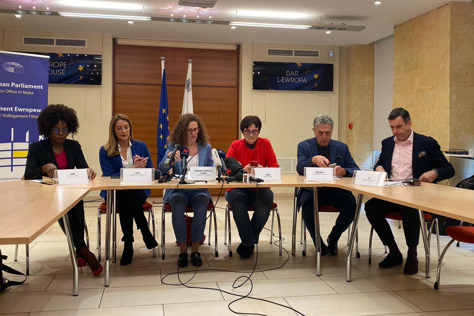 MEPs prepare to speak to the press. Photo: Claire Caruana