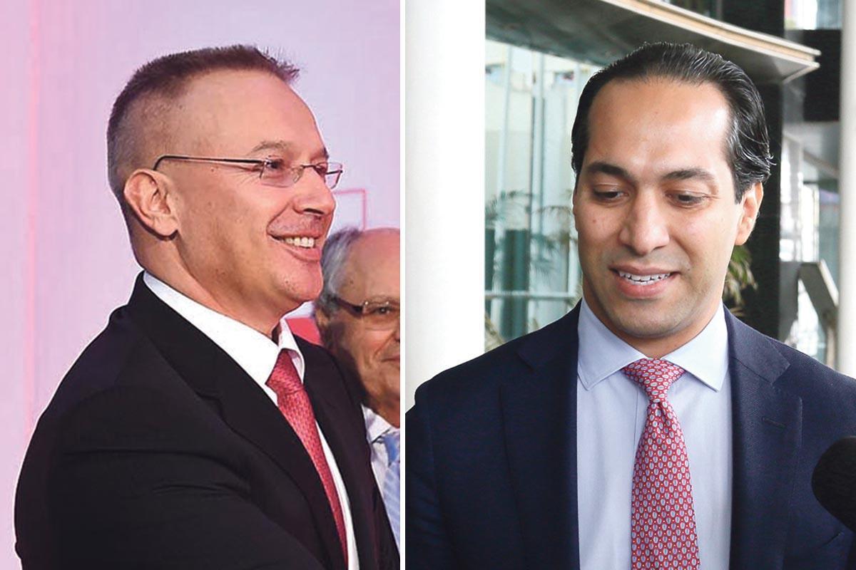 Satabank owner Cristo Georgiev (left) and Pilatus Bank owner Ali Sadr Hasheminejad.