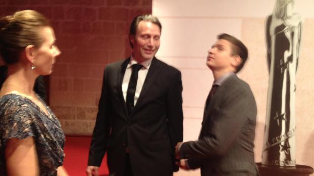 Best actor nominee Mads Mikkelsen (centre).