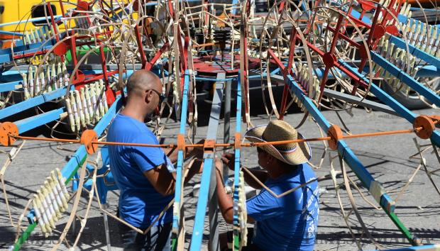 Fireworks enthusiasts make the final touches to ground fireworks in Mellieha Square, ahead of the feast on September 6. Photo: Matthew Mirabelli